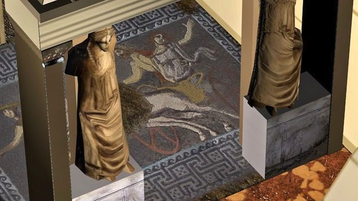 A Greek site released a 3D video presenting the Amphipolis tomb in northern Greece, including the impressive mosaic found inside the monument.