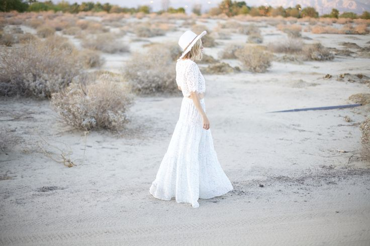 hm maxi flowy skirt, shop lombard & fifth white lace crop top, white fedora hat, palm springs vacation style