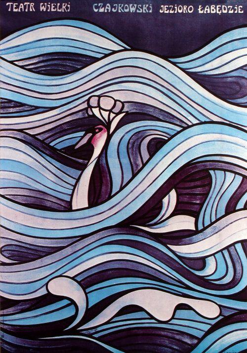 Polish opera poster by Jan Lenica, for P. Czajkowski Ballet Swan Lake