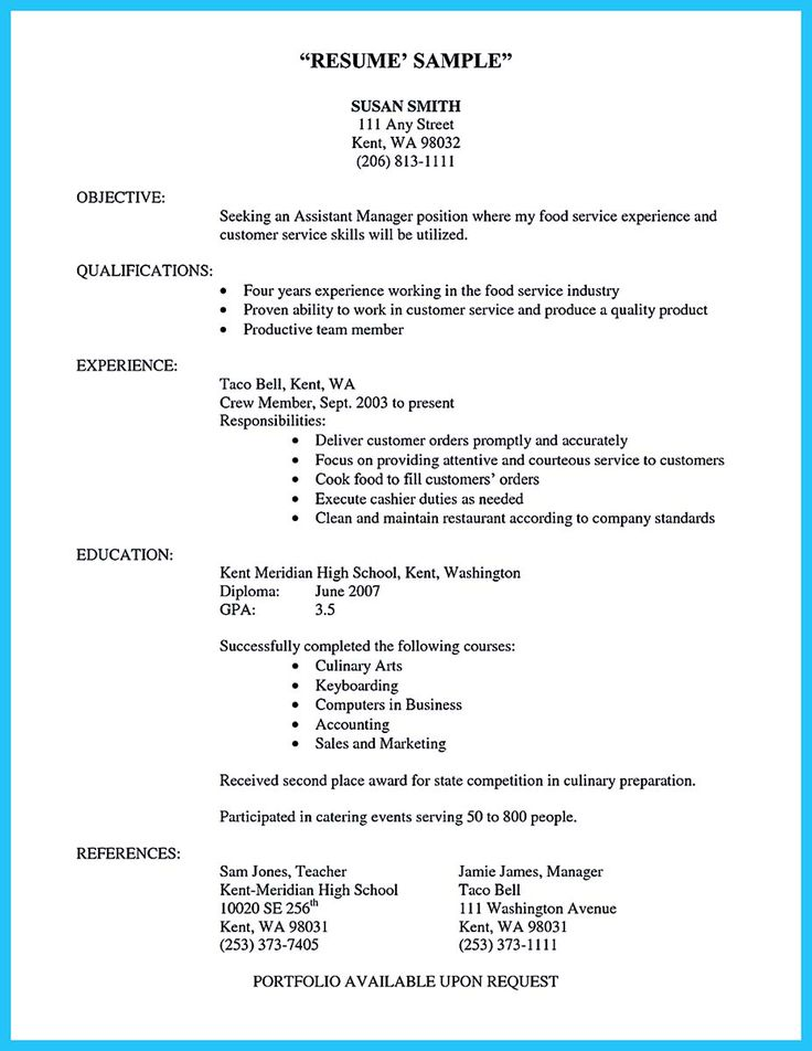 cool Excellent Culinary Resume Samples to Help You Approved, Check - taco bell resume