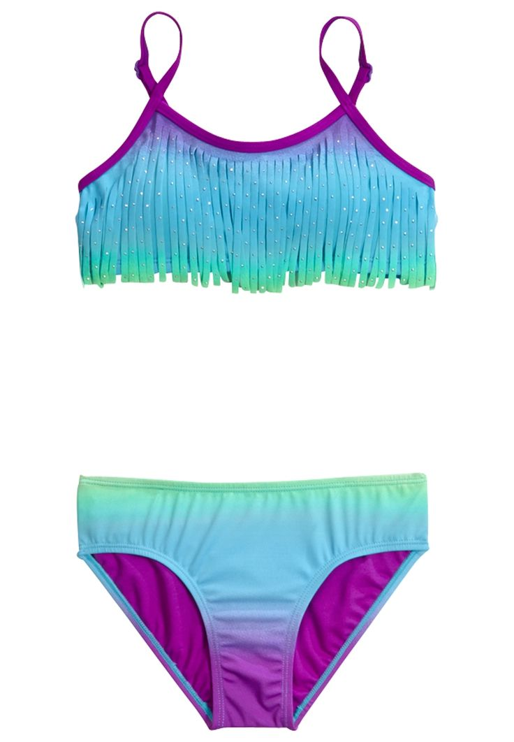 Ombre Fringe Bikini Swimsuit (original price, $32.90) available at #Justice