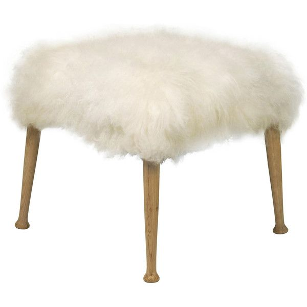 Petra Hollywood Regency White Faux Fur Flokati Ottoman found on Polyvore featuring home, furniture, ottomans, white ottoman, white furniture, white footstool, hollywood regency furniture and old hollywood furniture