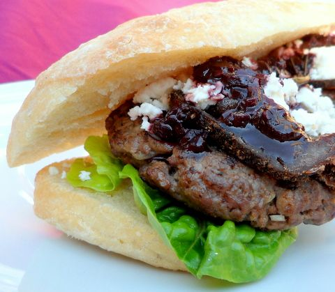 Ostrich Burger with Biltong, Feta and a Red WIne Sauce