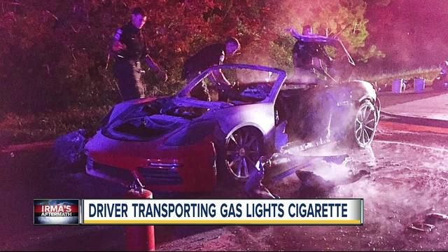 PINELLAS COUNTY -- 70-year-old man carrying extra gas in cans in the front seat of his Porsche lights a cigarette, sees car go BOOM. (September 2017)
