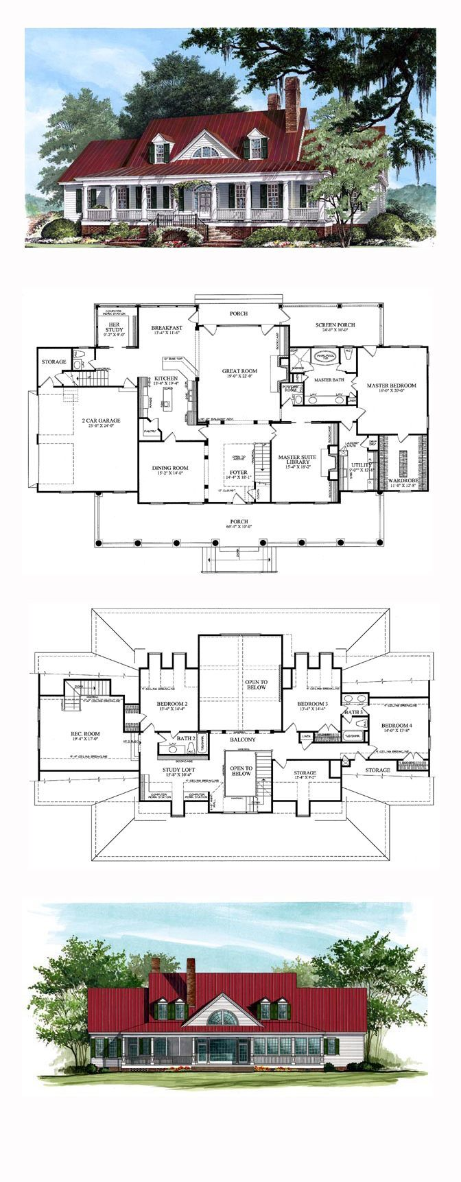 Plantation House Plan 86134 | Total Living Area: 4227 sq. ft., 4 bedrooms, 3 full bathrooms and 2 half bathrooms. #plantationhome