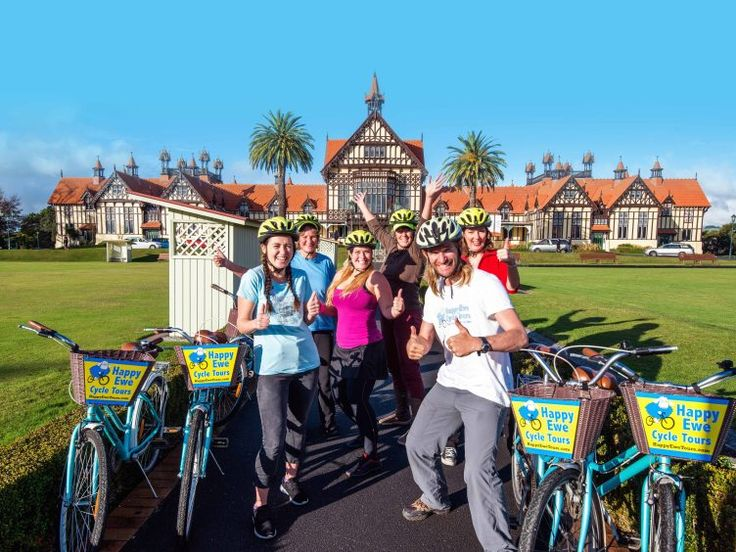 Experience Rotorua by Bike with Happy Ewe Sightseeing Tours. Rotorua's Happy Ewe Cycle Tours provide a guided biking adventure to 27 key points of interest around Rotorua which is renowned for its history, geothermal activity and cultural sights.   Cycle with one of the friendly team of Happy Ewe in a small, friendly personalised group on flat and easy cycle trails, making it perfect for all visitors.