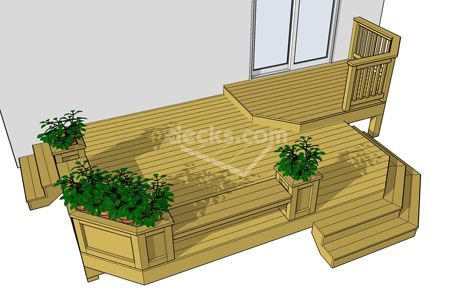 214 sf 2 level deck with benches, planter boxes and cascading stairs, download any of the 12 different sized deck plans for free