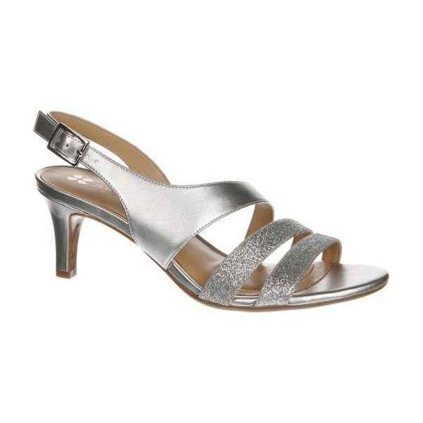 Naturalizer Women's Taimi Silver Glitter Pumps ($79) ❤ liked on Polyvore featuring shoes, pumps, silver, silver glitter shoes, silver strappy shoes, special occasion shoes, silver mid heel pumps and strappy pumps