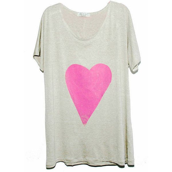 SLC-SLC Silver Sand Blush Heart Hand Printed Tee found on Polyvore featuring tops, t-shirts, heart tee, heart t shirt, heart tops, silver top and oversized t shirt