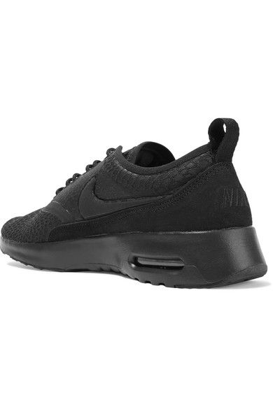 Nike - Air Max Thea Suede-trimmed Textured-knit Sneakers - Black - US