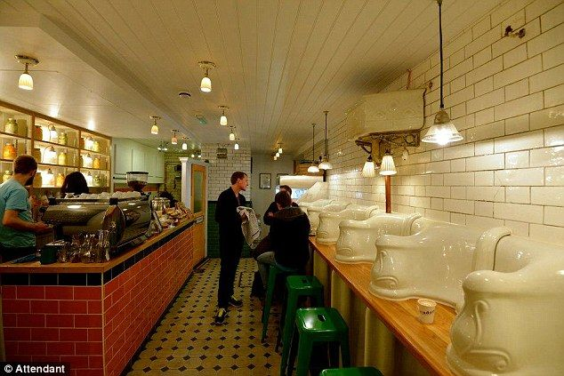 Hmm! Victorian mens' public lavatory is now a cafe. The cafe owners aim to provide the best food with a chef from the Michelin star Pollen Street Social