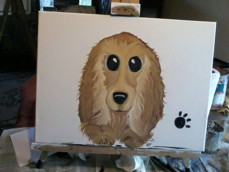Puppy pawprints Spaniel cartooned from photo for buyer