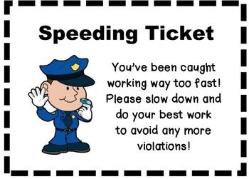 Speeding Tickets, need to redo with a pirate theme and recording sheet