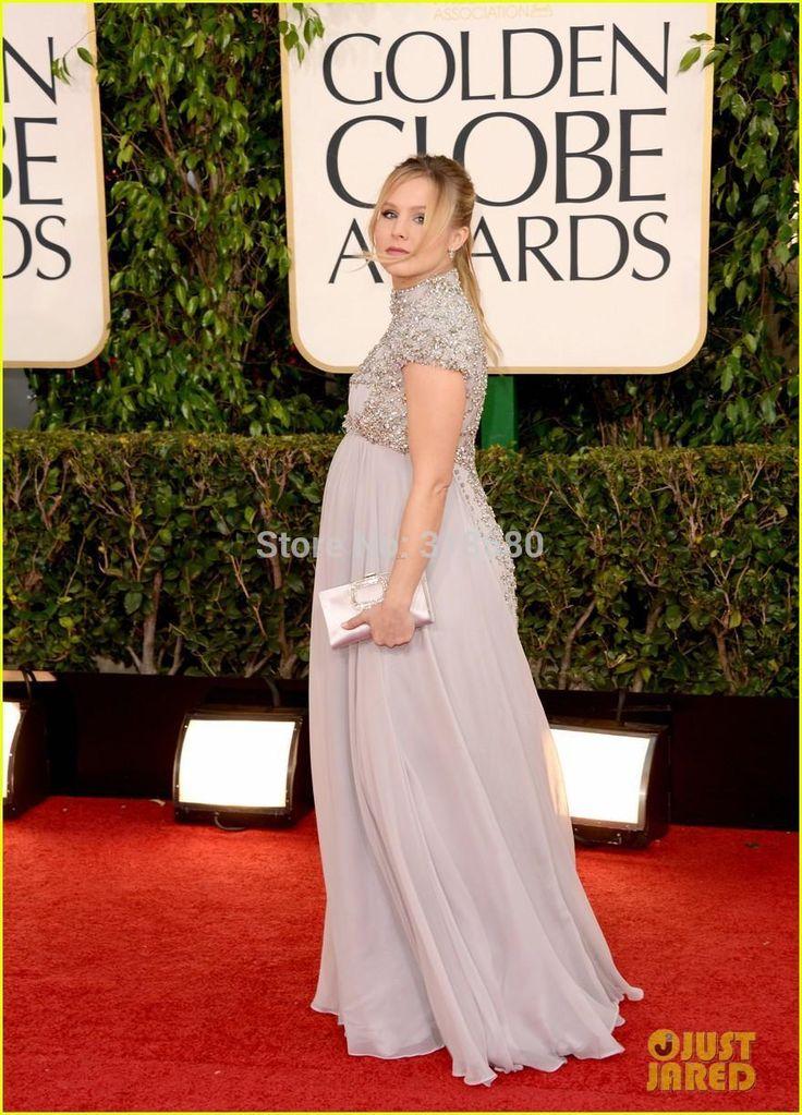 Элегантный кристен белл вечерние платья для беременных женщин красном ковре высокого шеи тяжелое вышитый бисером топ длиннее шифоновое платьекупить в магазине AmyStylish DressнаAliExpress