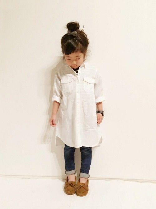 yuuunaさんの「【KIDS】 コットンボーダーTシャツ(green label relaxing)」を使ったコーディネート