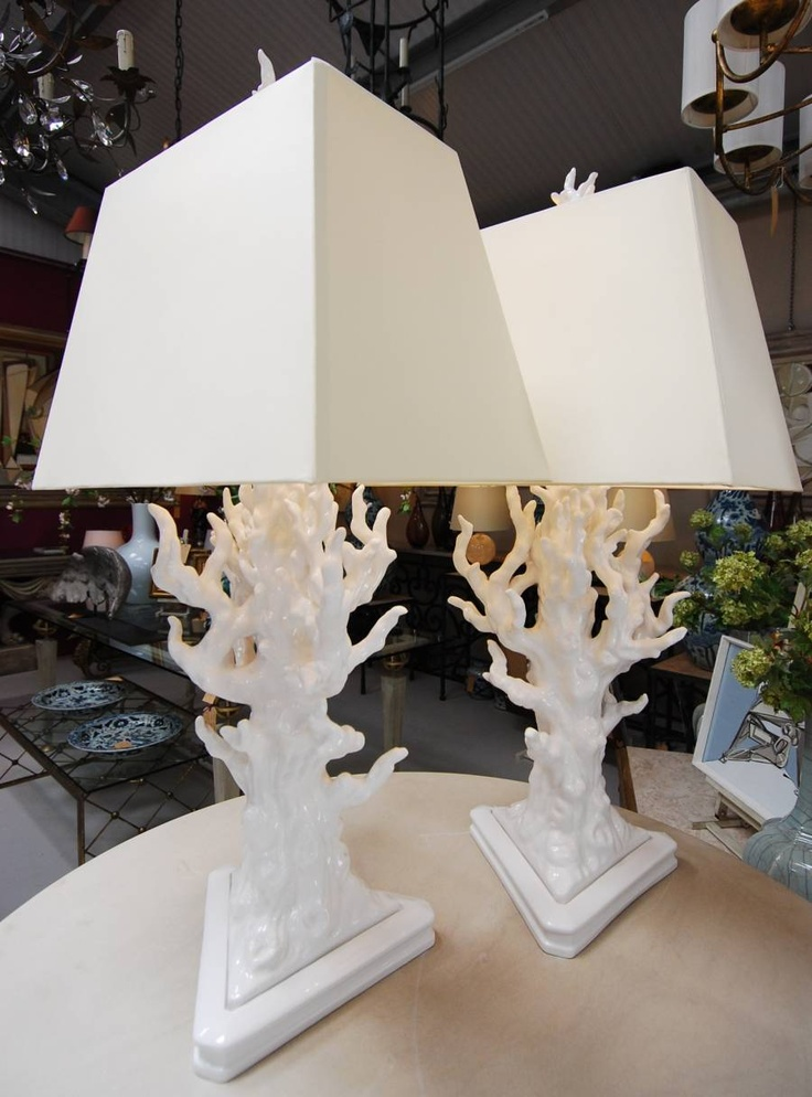 i like these coral lamps with these shades. Coastal Chic!: White Coral, Lighting, Living Room, Decor Inspiration, Coral Lamps, Coastal Living, Blanchard Collective