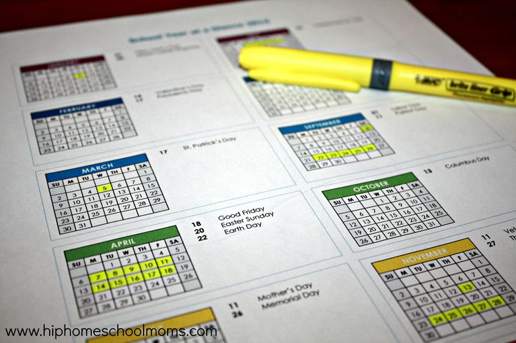 Year at a Glance calendar, several years