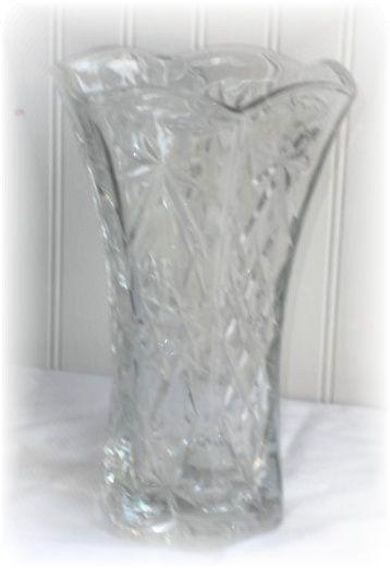 Vintage Anchor Hocking Prescut Star of David Glass Flower Vase