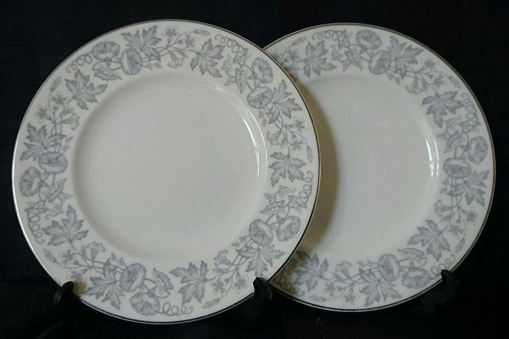 2 x Wedgwood Wildflower Grey Side Plates #DessertPlates