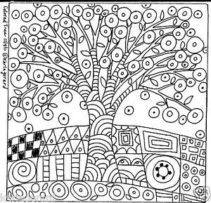 free rug hooking patterns | Rug Hooking Paper Pattern Colored Tree Folk Art Primitive Abstract ...