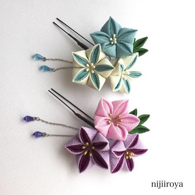 つまみ細工 桔梗の髪飾り 紫×ピンク