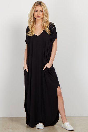 95ccb1627f3 Black Basic V Neck Maxi Dress
