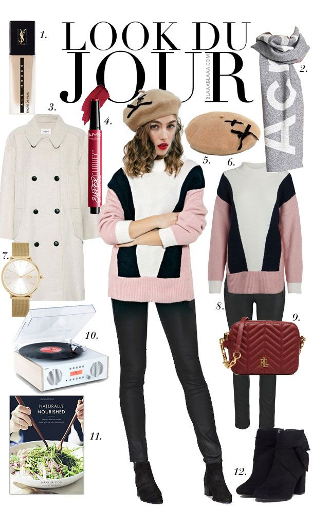 Look Du Jour: Scharf Acne Scarf! White, black and pink pullover+black jeans+black heeled boots+white coat+camel beret+dark red crossbody bag+gold watch+grey scarf. Winter Casual Outfit 2018