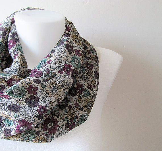 Floral Infinity Scarf Light Brown Crinkle Chiffon Scarf