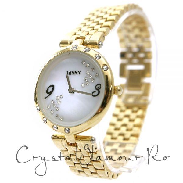 Ceas dama Jessy Luxury Chic Gold cu cristale Swarovski