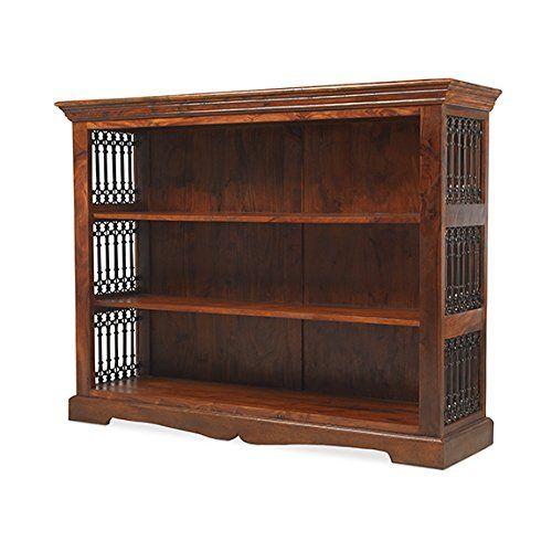 Madras Solid Sheesham Wood Low Wide Jali Bookcase Display Unit, Honey Brown, H 100 x W 130 x D 38 cm---349---