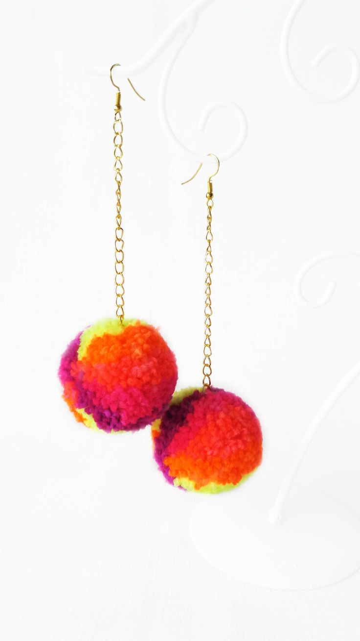 Pompom Earrings. Fluffy earrings. Festival jevellery. Pom pom neon. Heart earrings. Festival earrings. Coachella earrings.Coachella jewelry