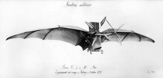 motorvliegtuigmodel van Clément Ader, een reusachtige vleermuis met vleugels van vijftien meter