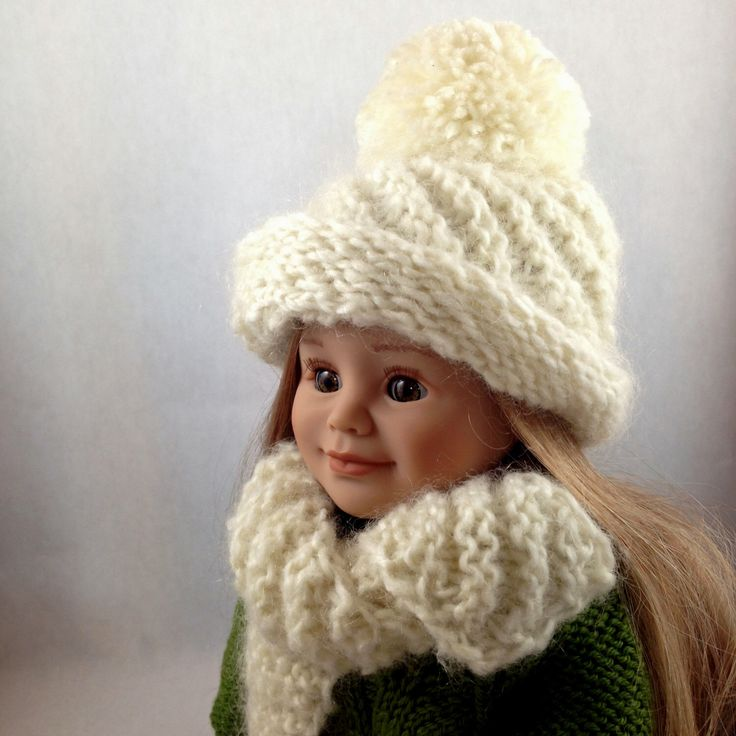 "American Girl Doll Hat and Scarf - 18"" Doll Knitted Scarf and Hat. Fits  Maplela, Kidz 'n' Cats and Gotz. Knitted Doll Clothes by OlenaExclusive on Etsy https://www.etsy.com/listing/217988895/american-girl-doll-hat-and-scarf-18-doll"