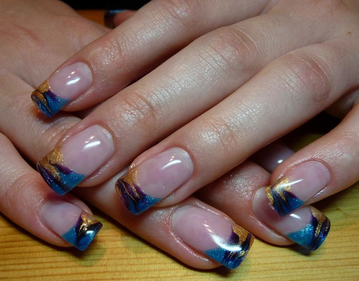 blue and gold glitter french