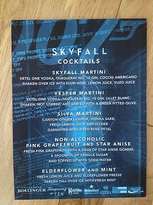 RARE AUTHENTIC JAMES BOND SKYFALL COCKTAIL MENU FROM LONDON PREMIERE PARTY - 5th village