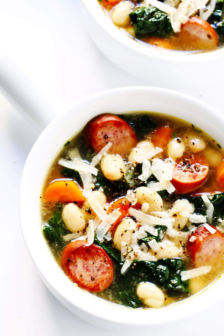 This Tuscan White Bean, Sausage and Kale Soup is quick and easy to make, gluten-free, freezer-friendly, and soooo comforting and delicious!