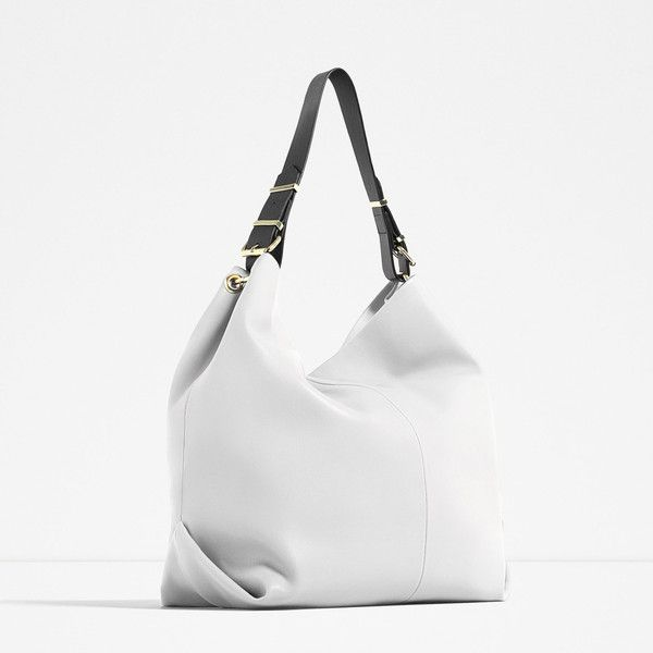Zara Bag With Cross-Body Strap (110 SAR) ❤ liked on Polyvore featuring bags, handbags, shoulder bags, zara handbags, white shoulder bag, cross body strap purse, cross strap purse and white handbags