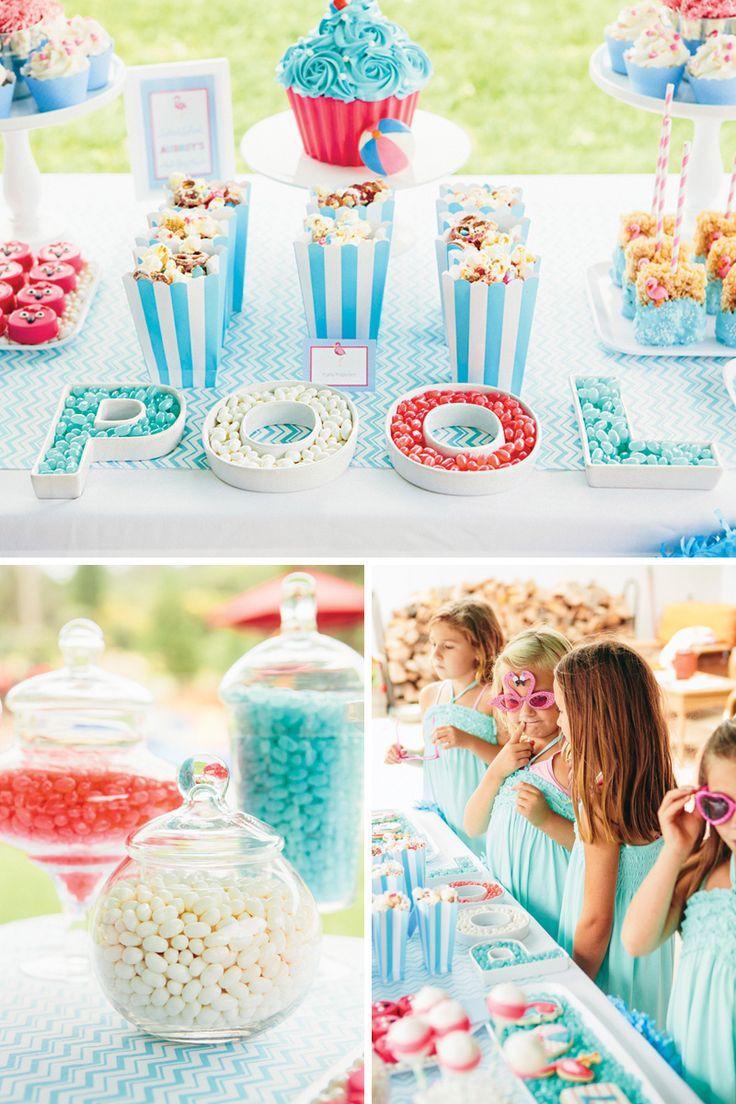 pool party dessert table letter dishes
