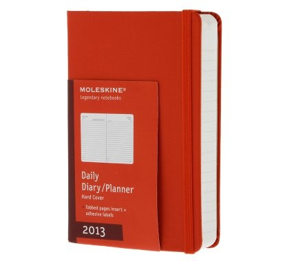 12 months - Daily Planner - Red hard cover - Pocket