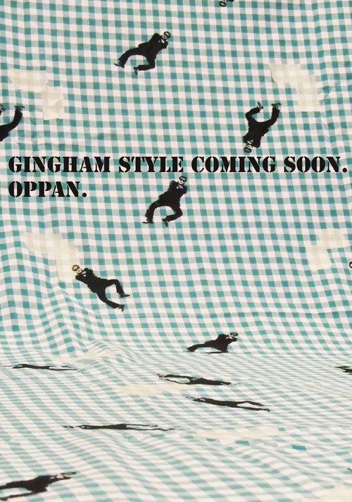 Hand-made Gingham Style repeat print in production in my studio, dress coming soon.  Inspired by Psy - Gangnam Style.