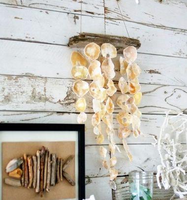 DIY rustic seashell mobile (or wind chime) // Rusztikus tengerparti hangulatú fali dísz kagylókból (szélcsengő) // Mindy - craft tutorial collection