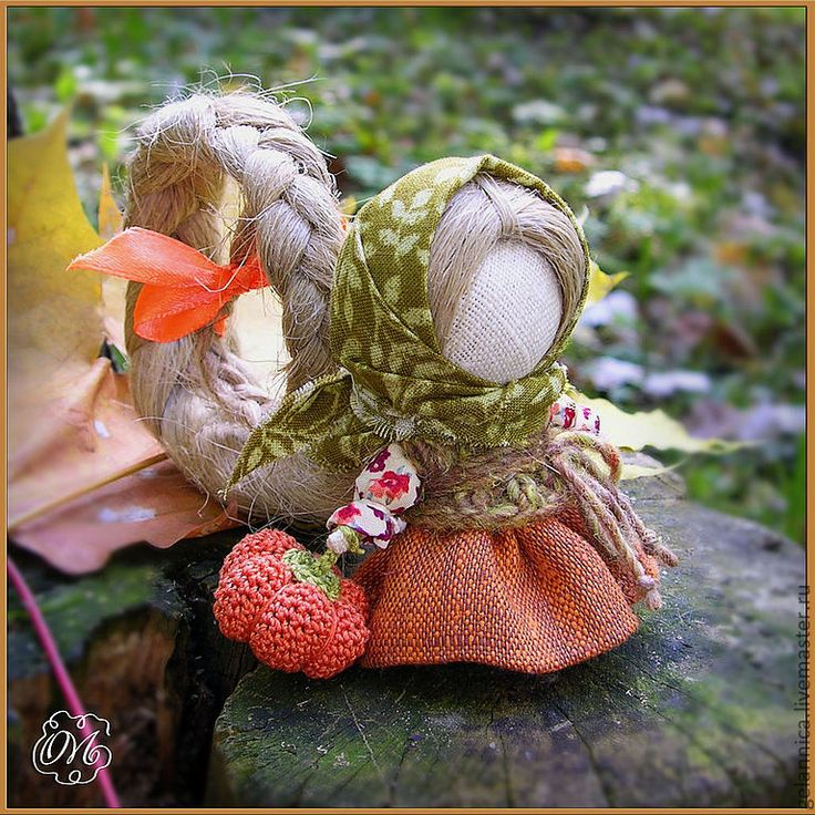 "Russian Traditional Folk Doll ""Na Schastye.. S Tykovkoy"" - ""For Happiness.. With a Pumpkin""."