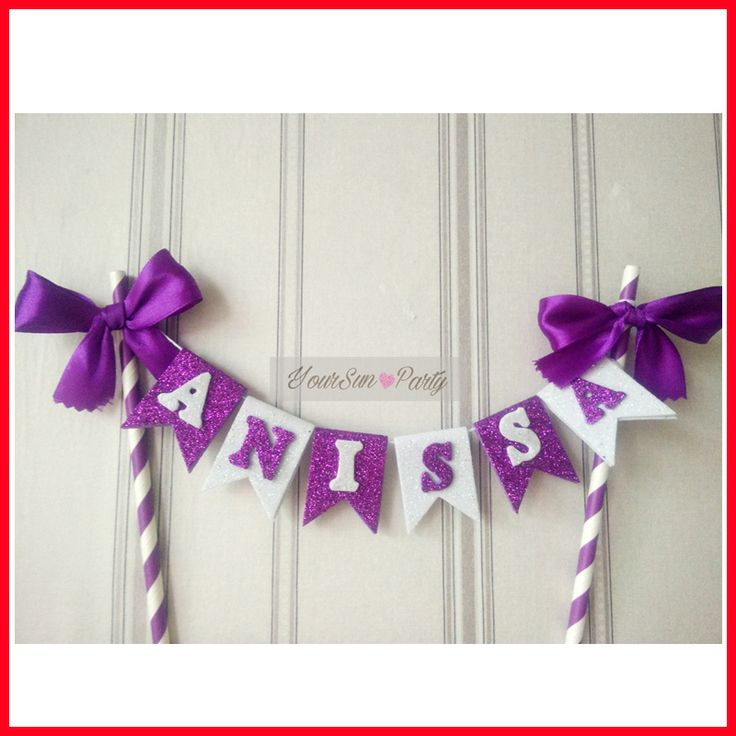 Free Shipping Personalized Name Cake Buntings Purple And White Decorated Flag Cake Accessory Anissa Garland Cake Topper Straws