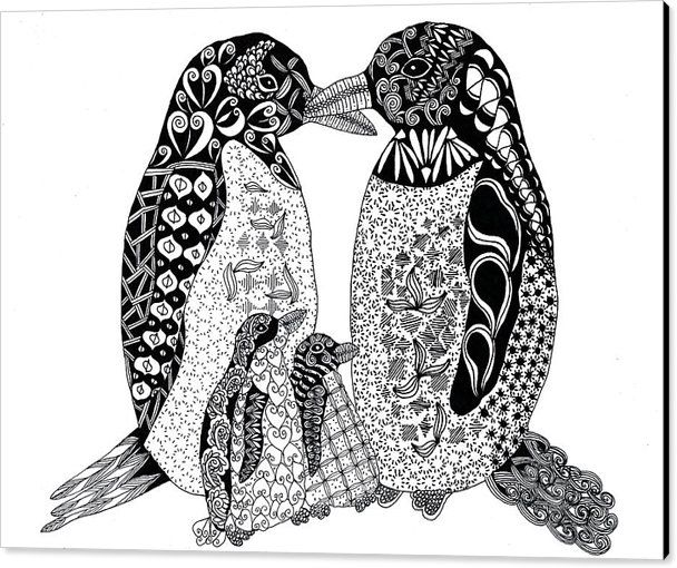 Penguin Baby Family Zentangle Animal Nature Wildlife Canvas Print featuring the drawing Penguin Family by Sharon White