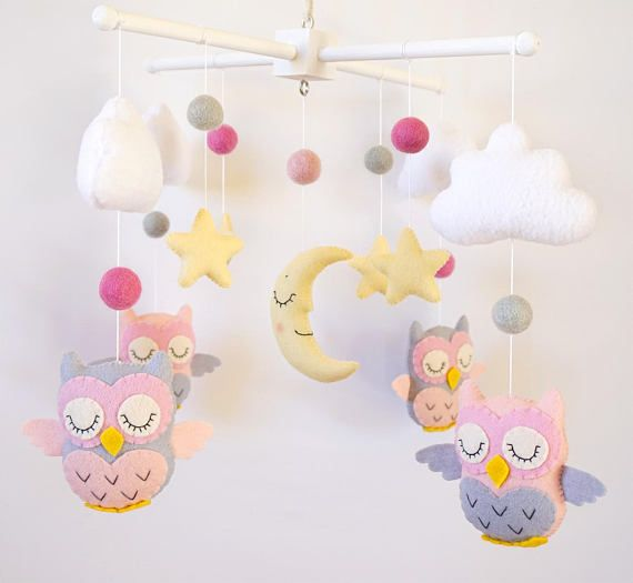 Baby mobile owl Nursery mobile Moon mobile Pink Grey nursery Baby girl mobile Baby shower gift Owls nursery Clouds mobile Cot Crib Felt Star 100% wool felt  Welcome to «minimez»♥   This lovely baby mobile with owls theme is perfect for a baby girl nursery. Hand-sewn with attention to details from the 100% merino wool felt of highest quality. Each plush element is filled with hypo-allergenic polyester stuffing. All mobiles ship nicely packed and ready to be gifted .