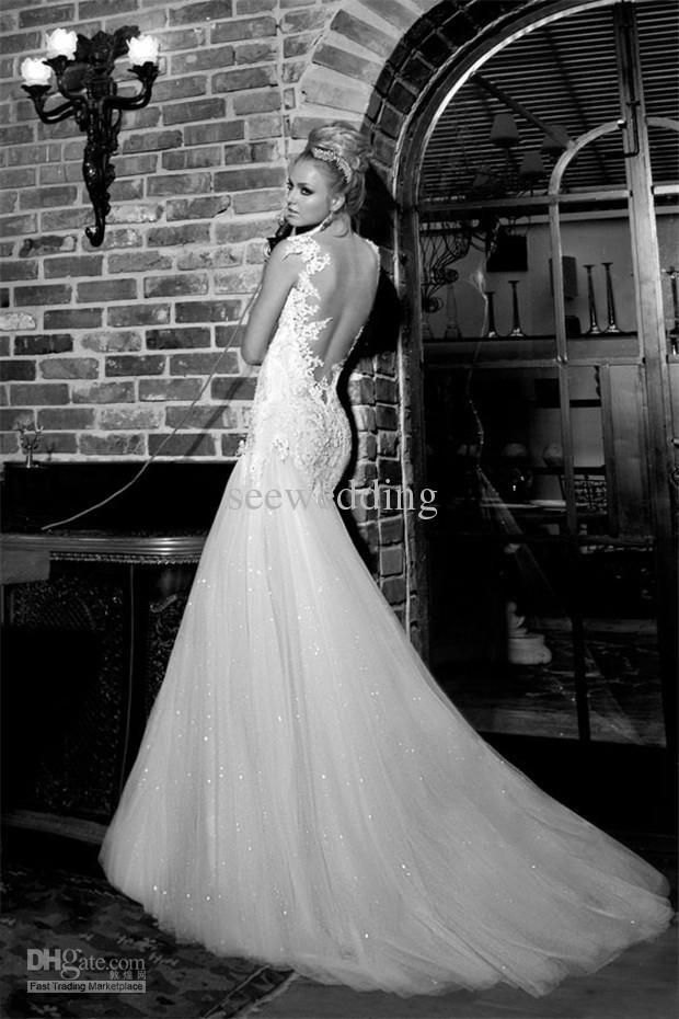 Fabulous  Galia Lahav Vintage Wedding Dresses Spaghetti Straps Mermaid Lace Sequins Wedding Dress Backless