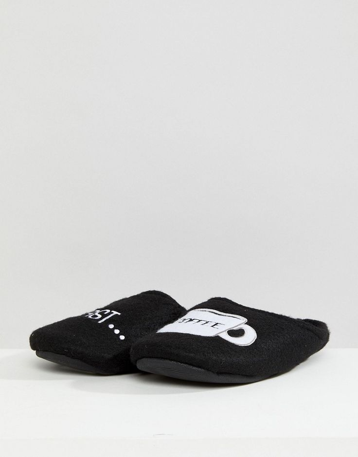 New Look Slipper With Coffee Slogan In Black - Black