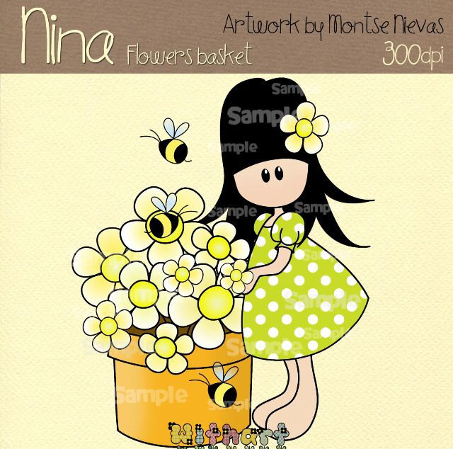 Nina dolls clipart, digital Illustration by Withart for scrapbooking, cardmaking and crafts. Spring, doll, flowers, bees, basket. www.etsy.com/shop/withart
