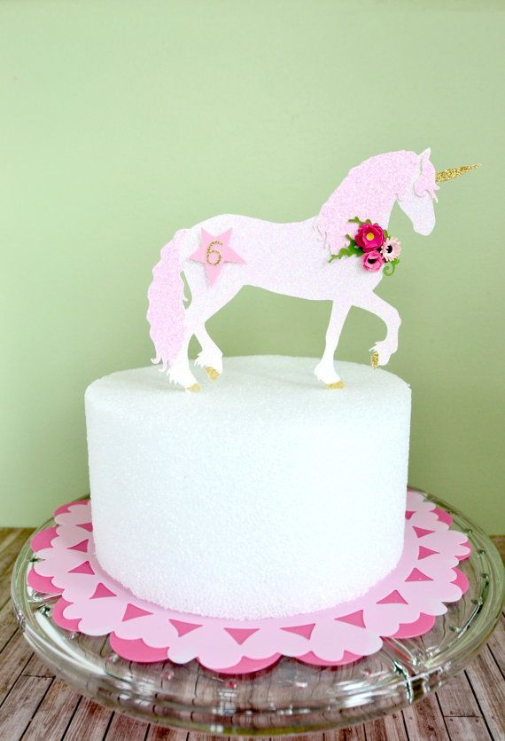 What about a Sparkly Unicorn to top off your Cake? Also perfect for a centerpiece arrangement. This listing of unicorn Cake topper is made