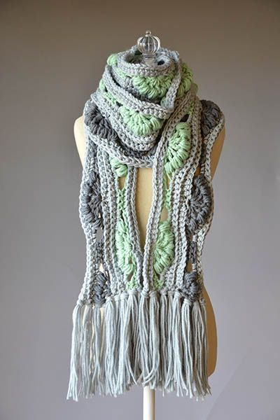 Free Ambrosia Scarf Pattern crocheted on US Size N-15 (10mm) hook with Deluxe Bulky Superwash